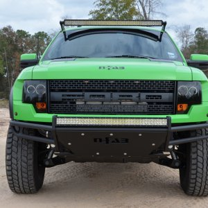 Showing off the N-FAB decals, custom LED Light Bar up top, and our Full Replacement Bumper with LED light applications!